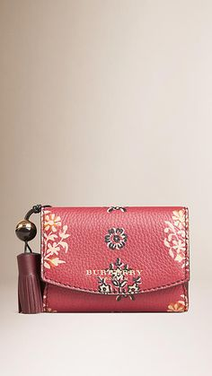 a6b6cf0f179 Carmine red Ornate Floral Print Leather Wallet - Image 1 Flower Fashion