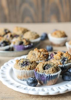 These Paleo Banana Blueberry Muffins are moist, sweet, and perfect to pop in your mouth as a quick snack or easy breakfast. They're gluten-free and sweetened only with bananas!