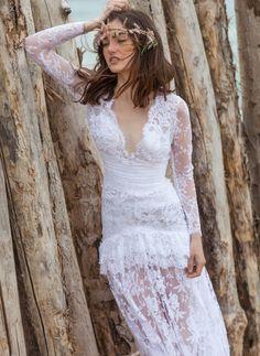 30e585cc620 christos costarellos bridal 2016 18 long sleeve lace wedding dress  scalloped deep v neckline bohemian romantic -- Christos Costarellos 2016  Wedding Dresses