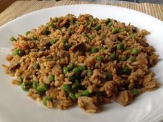 This is pretty much the best pork fried rice recipe I have made and I have made a lot of them.  I use leftover pork loin and left over rice for a great dish.  This dish reheats amazingly too.  This recipe comes from the Food Network website.