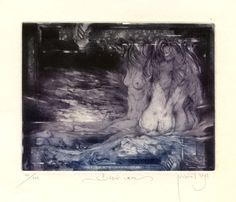Nude, Surrealistic Ex libris Etching by Zdenek Bugan, Slovakia Ex Libris, Paper Size, Nude, Lettering, Drawings, Artwork, Size 14, Artist, Plate