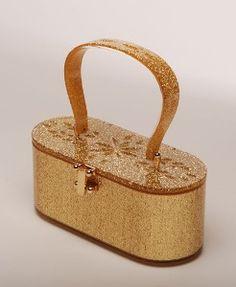 Vintage-Style Top Handle Lucite Handbag Purse in Gold | Shop accessories, fashion | Kaboodle