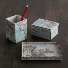 Vintage old world globe pencil pen holder desk accessory home ceramic map desk accessories gumiabroncs Images