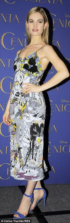 Lily James looking beautiful in a story book print dress #LilyJames #Style #Fashion #CelebrityFashion #StyleInspiration