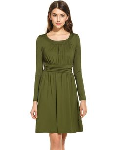 Army green Women Casual Sleeveless Solid O Neck Pullover Sexy Dress