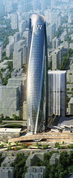 Huaqiang Golden Corridor City Plaza Main Tower, Shenyang, W Hotel Shenyang, China :: 66 floors, height 327m [Futuristic Architecture: http://futuristicnews.com/category/future-architecture/]