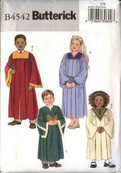Butterick Sewing Pattern 4542 Boys Girls Childrens Size 7-12 (Med-Lrg) Choir Robe Collar Variations