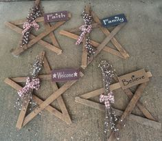 Primitive Wooden Fall Items | Decorated Lath Wood Star 22""