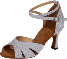 Vimedea Womens Latin Ballroom Shoes Ankle Strap Flat Round Toe Wedding Prom Party 7155