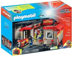 Playmobil 5663 Take Along Fire Station Playset Playmobil City, Fire Helmet, Walmart, Toys R Us, Fire Extinguisher, Building Toys, How To Know, Ebay, Firefighters