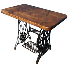 Singer Desk with Reclaimed Plank Top   From a unique collection of antique and…