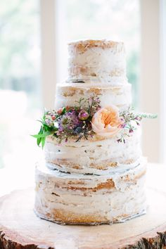 Classic Wedding at Zaza Gardens, San Antonio, TX, rustic wedding cake, semi-naked cake, tiered vanilla cake, floral cake decorations, follow this board for more wedding cakes // @scainphotos