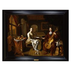 HERMANNUS COLLENIUS - A Portrait of an Elegant Couple Making Music | From a unique collection of antique and modern paintings at https://www.1stdibs.com/furniture/wall-decorations/paintings/