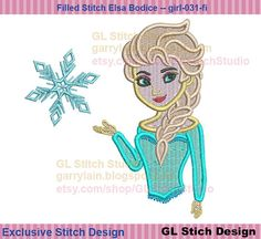 Queen Elsa embroidery design, filled stitch frozen machine Embroidery, Disney cold snowflake, girl-031-fi