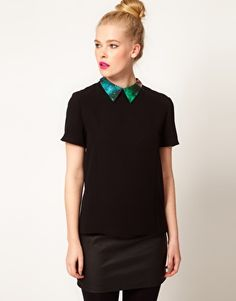 Sister Jane Galactic Collar Blouse  SGD$108.38  This blouse by sister jane has been crafted from a lightweight woven fabric. The details include: a classic point collar with a contrast space print design, short sleeves and an exposed silver-tone zip fastening to the reverse. The blouse has been cut with a regular fit.