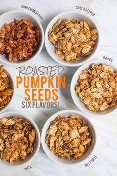 Roasted Pumpkin Seeds /// Six Ways! Flavored Pumpkin Seeds, Savory Pumpkin Seeds, Roast Pumpkin, Pumpkin Spice Pumpkin Seeds, Cooking Pumpkin Seeds, Recipe For Pumpkin Seeds, Oven Roasted Pumpkin Seeds, Seasoned Pumpkin Seeds, Cinnamon Sugar Pumpkin Seeds