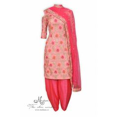 Pretty blush pink salwar suit adorn in floral embroidery-Mohan's the chic window