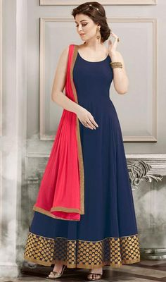 Blue Color Embroidered Georgette Long Anarkali Suit
