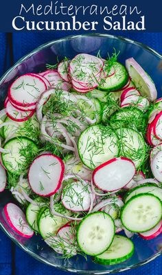 You'll love this Mediterranean cucumber salad with shallots and fresh herbs! It's light, healthy and filled with bright flavors. A couple of tips make all the difference. Makes the perfect last-minute addition to almost any meal. Mediterranean Cucumber Salad, Mediterranean Diet Recipes, Mediterranean Dishes, Mediterranean Style, Cucumber Recipes, Veggie Recipes, Cooking Recipes, Healthy Recipes, Recipes With Radishes
