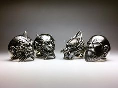 "Horiyoshi 3 rings ""Oni/one horn""""Oni/two horns""""Ryu""""Daruma"" For sales and inquiries > info@creep.jp #horiyoshi3 #oni #ryu #dragon #daruma #ring #ringsofinstagram #sculpture #jewelry #silverjewelry #creepjewelry"