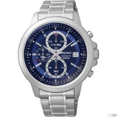 Seiko SKS443 Men's Watch Chronograph Blue Dial With Silver Stainless Steel Band