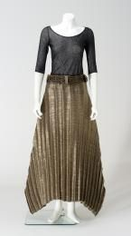Skirt, womens, pleated polyester, designed and made by ISSEY MIYAKE, Japan, 1993 (made for the Autumn/Winter collection 1993), owned by Gene Sherman, Sydney, New South Wales, Australia, 1993-2007. Powerhouse Museum