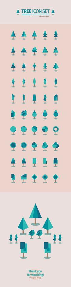 50 tree icon set by joo eunjeong, via Behance