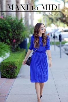 Sleevless maxi dress to puffed sleeve midi refashion