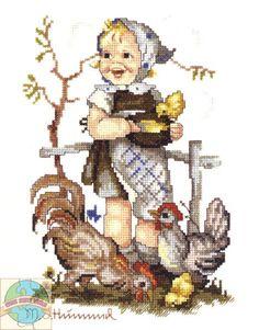 Детскую тему продолжают вышитые рисунки в стиле ретро. Это очень известная серия M.I. Hummel от американской компании JCA, в которую входи...