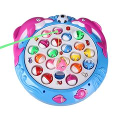 Fajiabao Electronic Rotating Fishing Game 4 Fishing Poles 21 fishes Musical Toys Pretend Play Game Set with Bright Light for Kids Boys Girls , Color Vary *** Be sure to check out this awesome product.