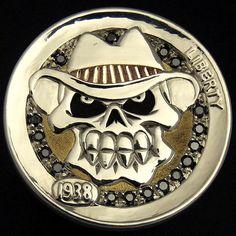 TIM WOLF HOBO NICKEL - GLAMOROUS SKULL - 1938 BUFFALO NICKEL (gold inlay and 17 black diamonds) Head Hunter, Hobo Nickel, Coin Art, 17 Black, Coin Ring, World Coins, Grim Reaper, Skull Art, Metal Art
