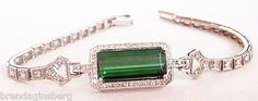 Belle Epoque platinum bracelet set with diamonds and tourmaline. Made in the early 20th century between the Edwardian and Art Deco periods.