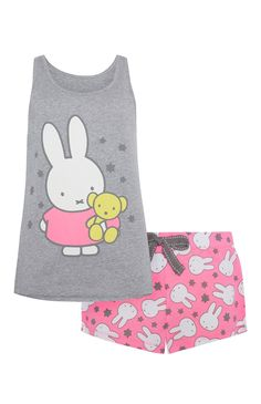 "Primark - ""Miffy"" Pyjamaset mit Top und Shorts"