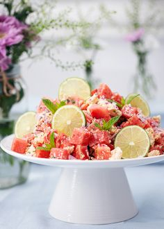 Melon and feta cheese salad with mint, Food And Drinks, melon and feta cheese salad. Fairy Food, Cheese Salad, Exotic Food, Greens Recipe, Halloumi, Recipes From Heaven, Summer Recipes, Food Inspiration, Food Dishes