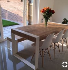 Handmade dining set - steel & timber table with benches -You can find Steel and more on our website.Handmade dining set - steel & timber table with benches - Timber Table, White Wood Table, Wood Interiors, Diy Table, Dining Set With Bench, Dining Room Table, Dining Sets, Table Settings, Room Decor
