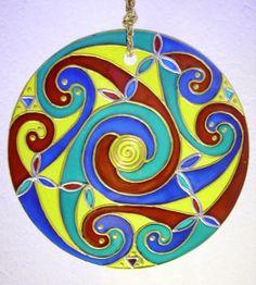 CELTIC SPIRAL DESIGN Suncatcher Glass Ornament by GloineGlory, €25.00