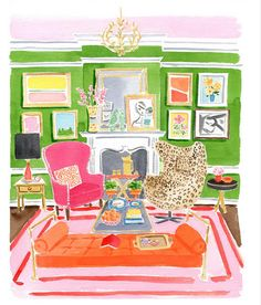 Leopard egg chair, green walls, salon style art and perfect chandelier...show me this in real life!
