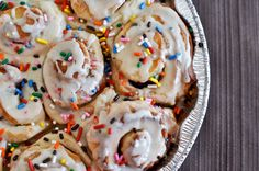 Cake batter cinnamon rolls, birthday breakfast for someone!