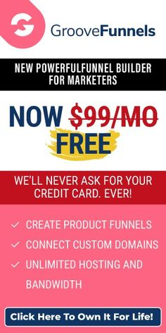 Get your FREE Lifetime GrooveFunnels account. Build amazing websites & sales funnels. Earn commissions straight away with their amazing affiliate program = FREE MONEY! #groovefunnels  #groovefunnelsfree #groovefunnelsreview  #groovefunnelsaffiliate #makemoneyonline #free #zerocost