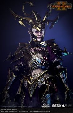 Dark Elf Lord for Total War: WARHAMMER II - Female Dreadlord I had so much fun making this character for the game. Concept and design was by the very awesome Rich Carey! Fantasy Armor, Dark Fantasy Art, Character Design Sketches, 3d Chalk Art, Angel Warrior, Star Wars, Fairytale Fantasies, Total War, Goth Art