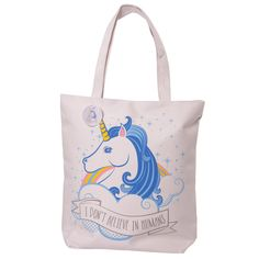 Handy Cotton Zip Up Shopping Bag - Unicorn