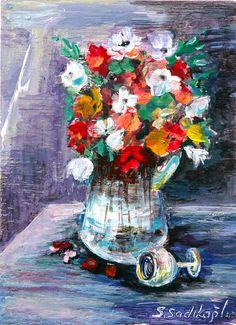 original akrilik painting naturmortimpressionism by SEVILSBAZAAR, $15.00