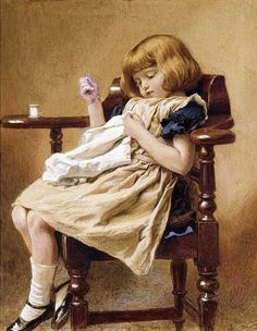 Child Sewing Robert Barnes (1840 – 1895, English)