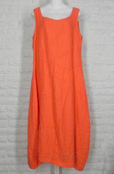 GRIZAS Sleeveless Balloon Dress Patchwork Linen Orange NWT Ladies S L XL #Grizas #Shift #Casual