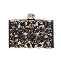 """Minicastle Womens Noble Evening Clutch Bag Wedding Purse Bridal Prom Handbag Party Bag  Superior metal frame construction with shiny and fashion rhinestone outside.  Dimensions: 6.9""""L x 1.57""""W x 4.3""""H,weight is 0.83 pounds,chains length:48""""  This gorgeous bag is Silver or Gold with hard case and round crystal diamante detail,compact but elegant.Can hold iphone 7 plus,cash,card,keys,mirror and makeups.  The bag can be clutched by hands or hung on shoulders with the detachable chain.  Un..."""