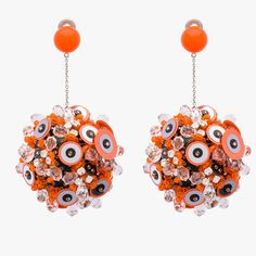 PRADA: Festooned with sequins and stones, these drops put the statement in statement earrings.