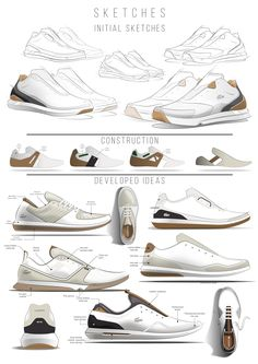 Each step of the design process is neatly shown and labeled showing the progression of the shoe. I love the neutral color palette which would allow this shoe to be worn with many other colors. The design itself reminds me more of a dress/golf type shoe that could be worn on different occasions. However, I would like to see the black color in another shade of brown to create a monotone shoe.
