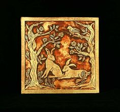Rabbits in the Rose Garden  8x8 Hand Carved Tile by agapanthertiles, $75.00