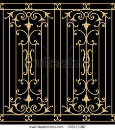 Stock Vector- Stock Vector Iron Wrought Seamless Border One Royalty Free Cliparts, Vectors, And Stock Illustration. Home Window Grill Design, Iron Window Grill, Grill Gate Design, Door Gate Design, House Front Design, Steel Grill Design, Steel Gate Design, Wrought Iron Security Doors, Wrought Iron Decor