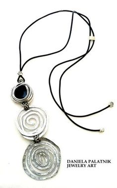 black leather long handmade necklace silver by danielapalatnik